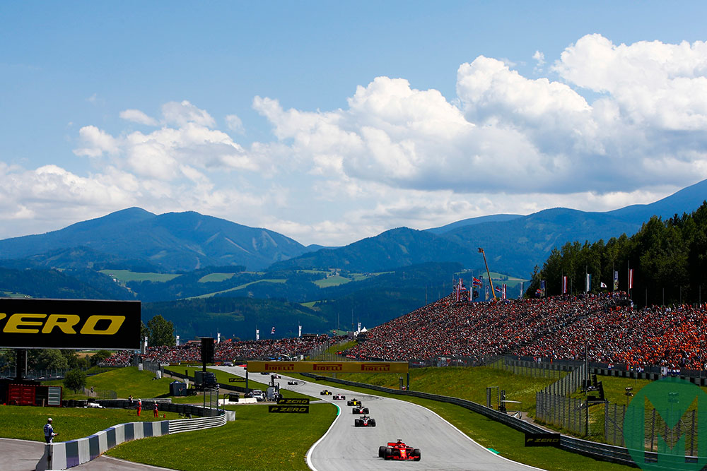 Mountain landscape behind the Red Bull Ring at the 2018 Austrian Grand Prix