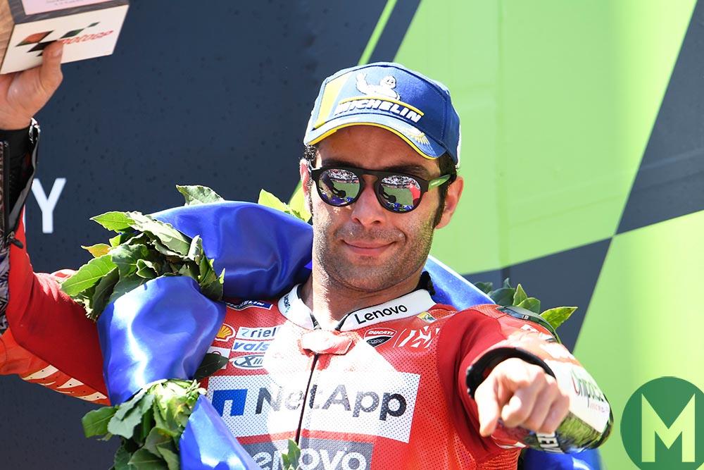 Danilo Petrucci on the podium at the 2019 MotoGP Catalan Grand Prix