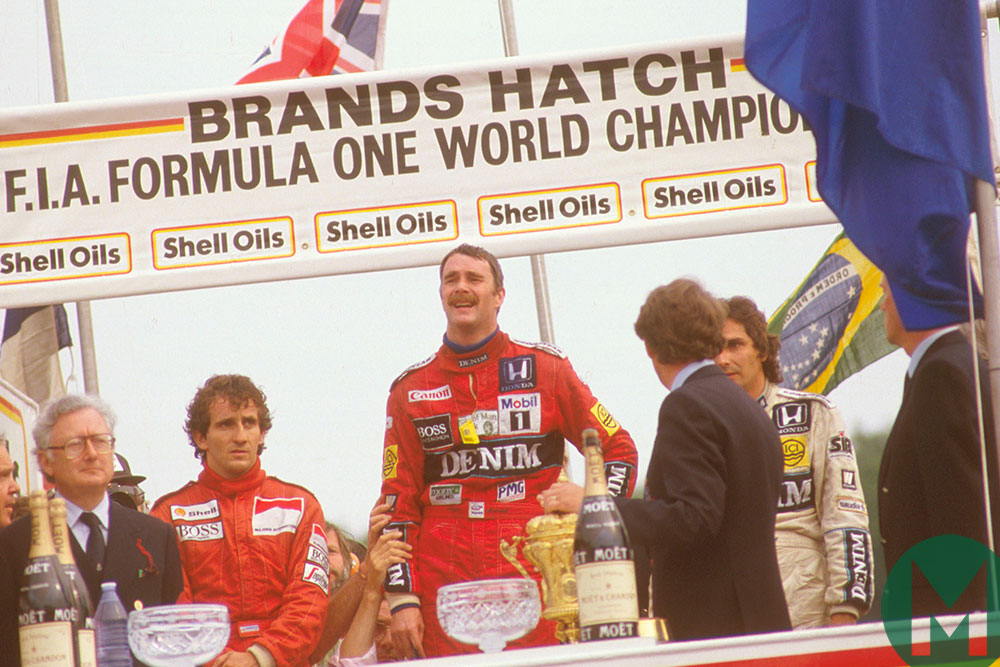 Nigel Mansell, Williams team-mate Nelson Piquet and McLaren's Alain Prost on the 1986 British Grand Prix podium