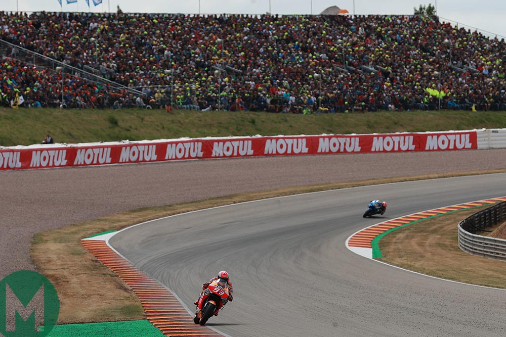 Marc Marquez leading with a large gap at the 2019 MotoGP German Grand Prix