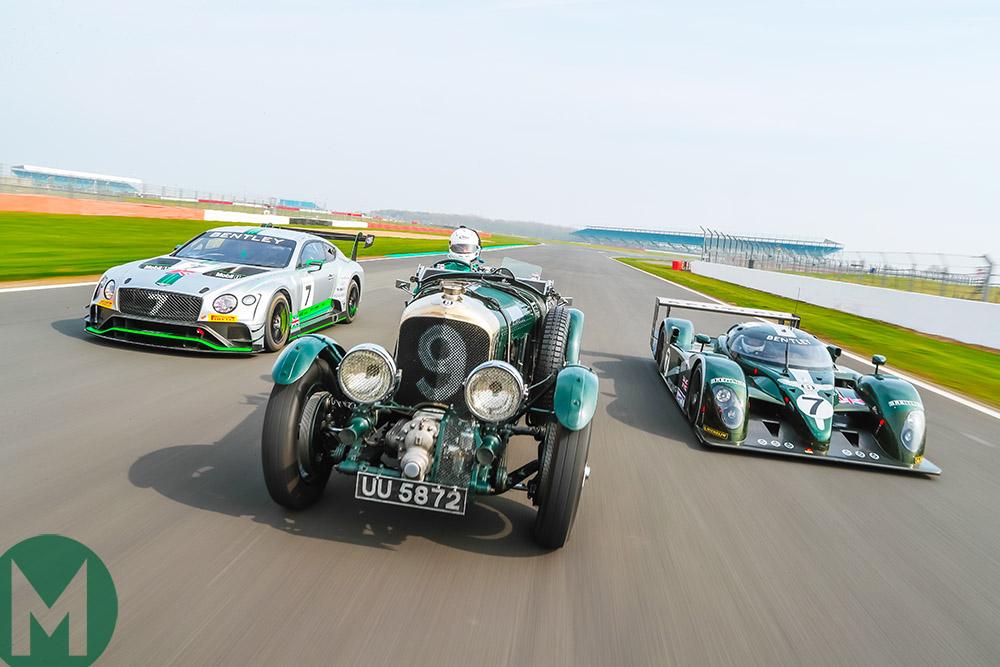 Trio of Bentleys on track
