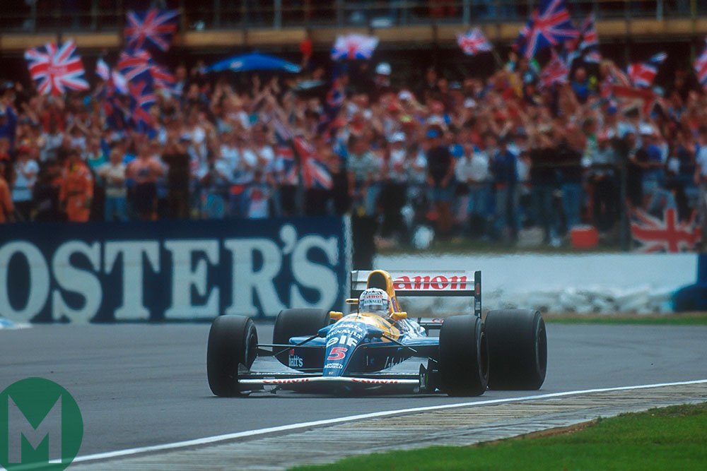 Nigel Mansell roared on by his home crowd on the way to dominant 1992 British Grand Prix victory