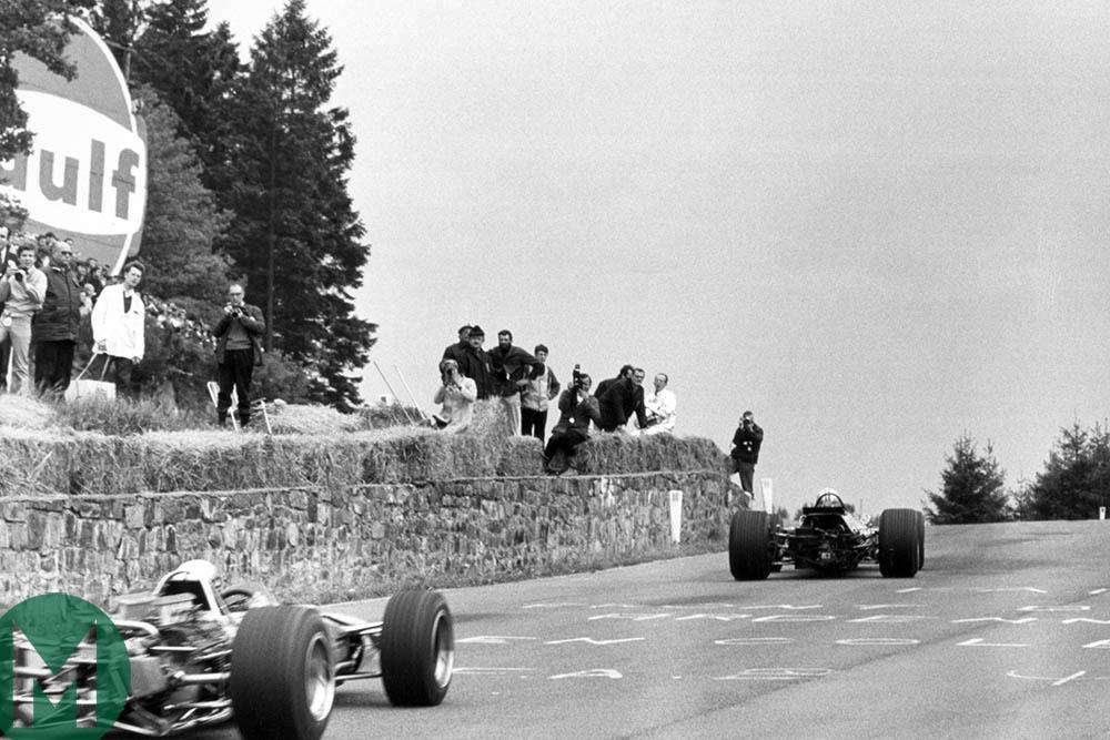 John Surtees leads Jackie Stewart at the 1968 Belgian Grand Prix