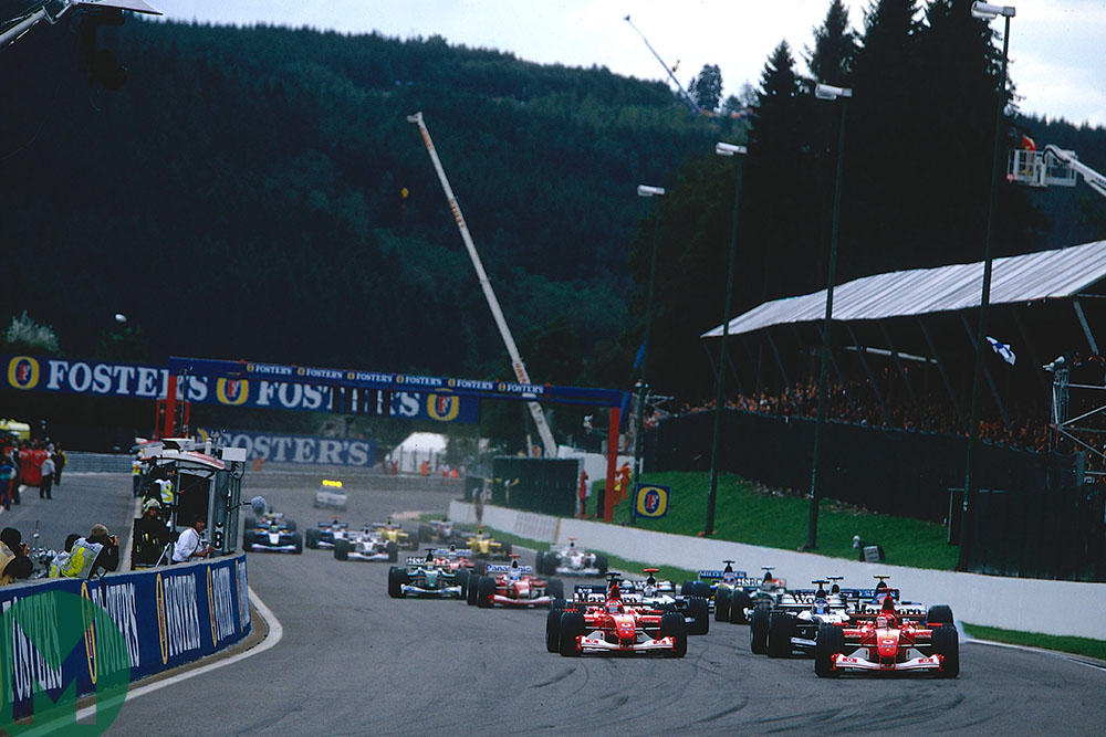 Michael Schumacher leads the pack at the start of the 2002 Belgian Grand Prix