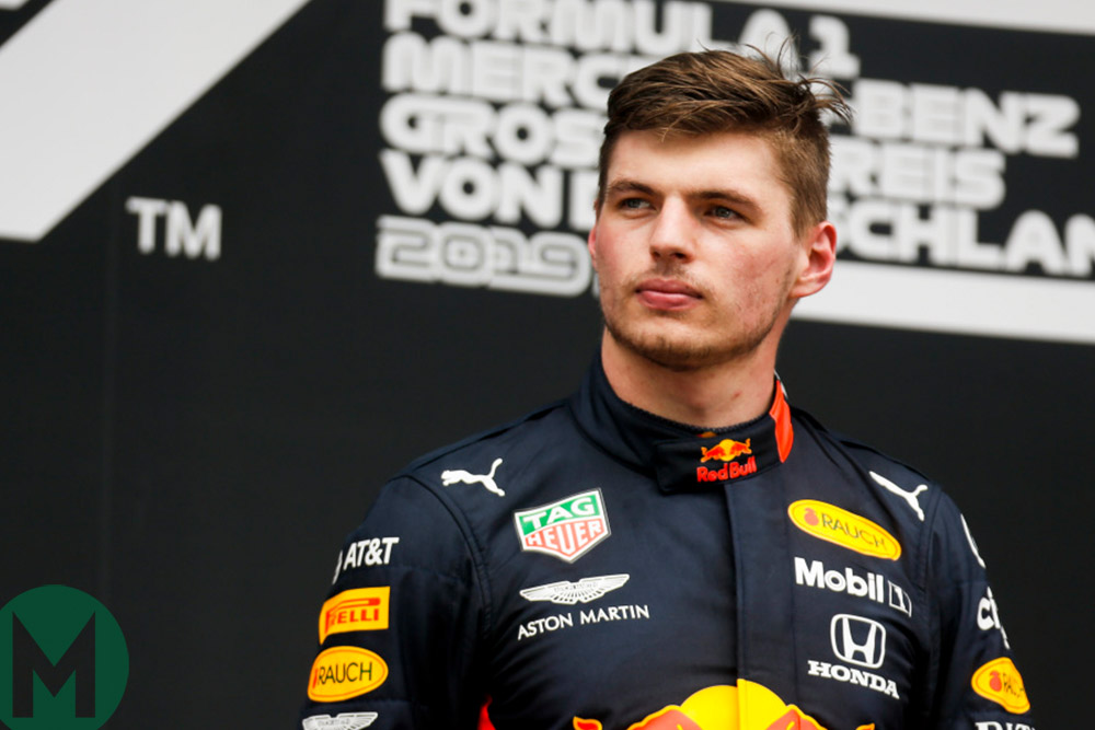 Max Verstappen on the podium after winning the 2019 German Grand Prix