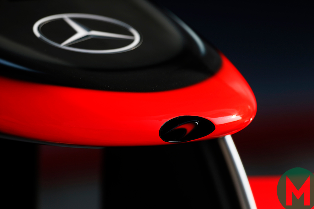 The nose of a McLaren-Mercedes car, showing the logos of both companies