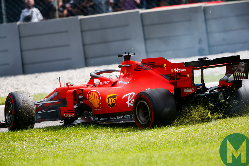 Sebastian Vettel rejoins the track during the 2019 Italian Grand Prix