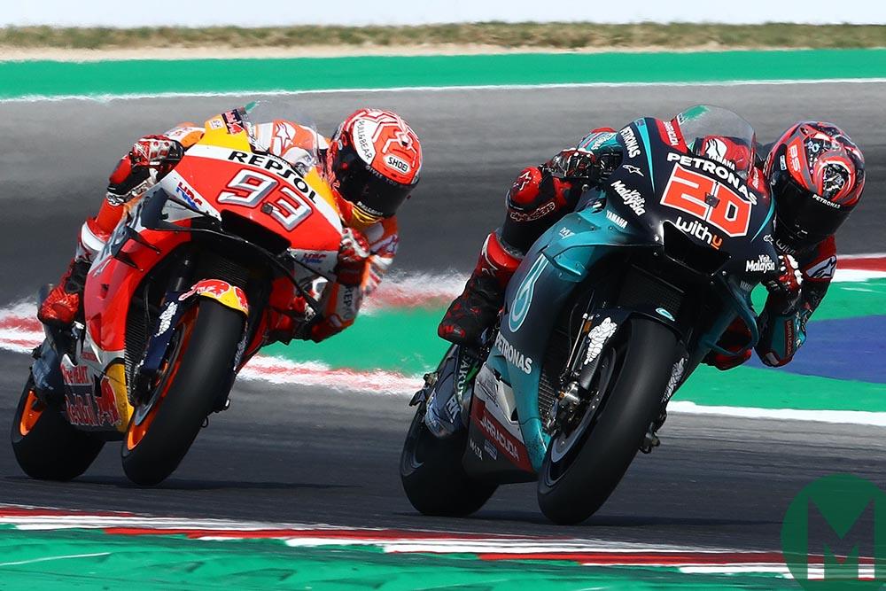 Marc Marquez stalks Fabio Quartararo at the 2019 MotoGP San Marino Grand Prix