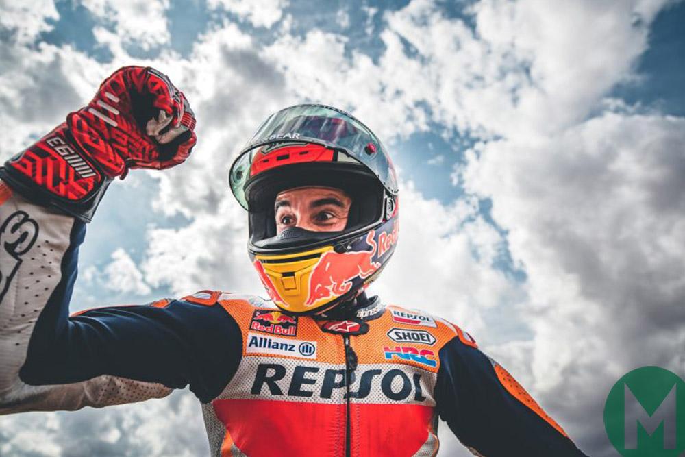 Marc Marquez celebrates victory at the 2019 Aragon MotoGP Grand Prix