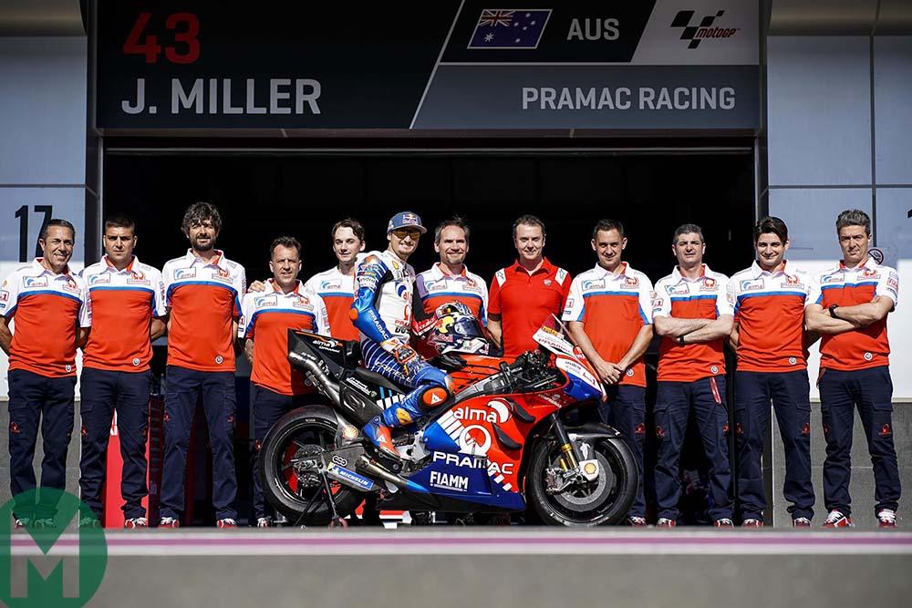 Jack Miller with his Pramac Ducati team members ahead of the 2019 season