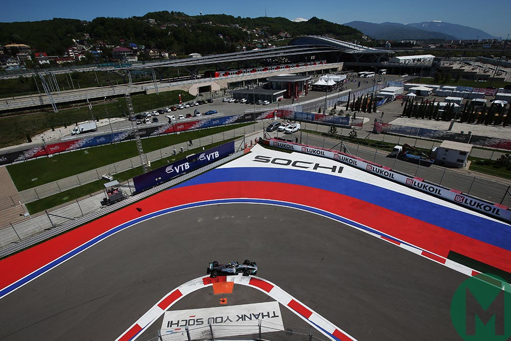 Overhead view of Valtteri Bottas on track in Sochi during the 2017 Russian Grand Prix weekend