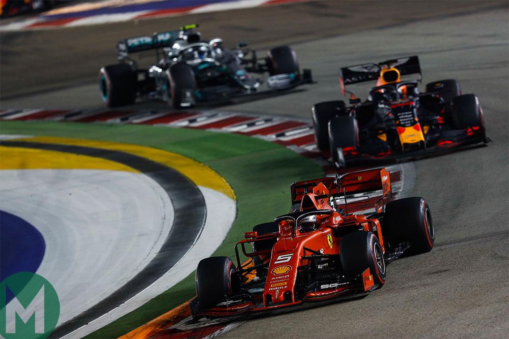 Sebastian Vettel ahead of Max Verstappen and Valtteri Bottas at the 2019 Singapore Grand Prix
