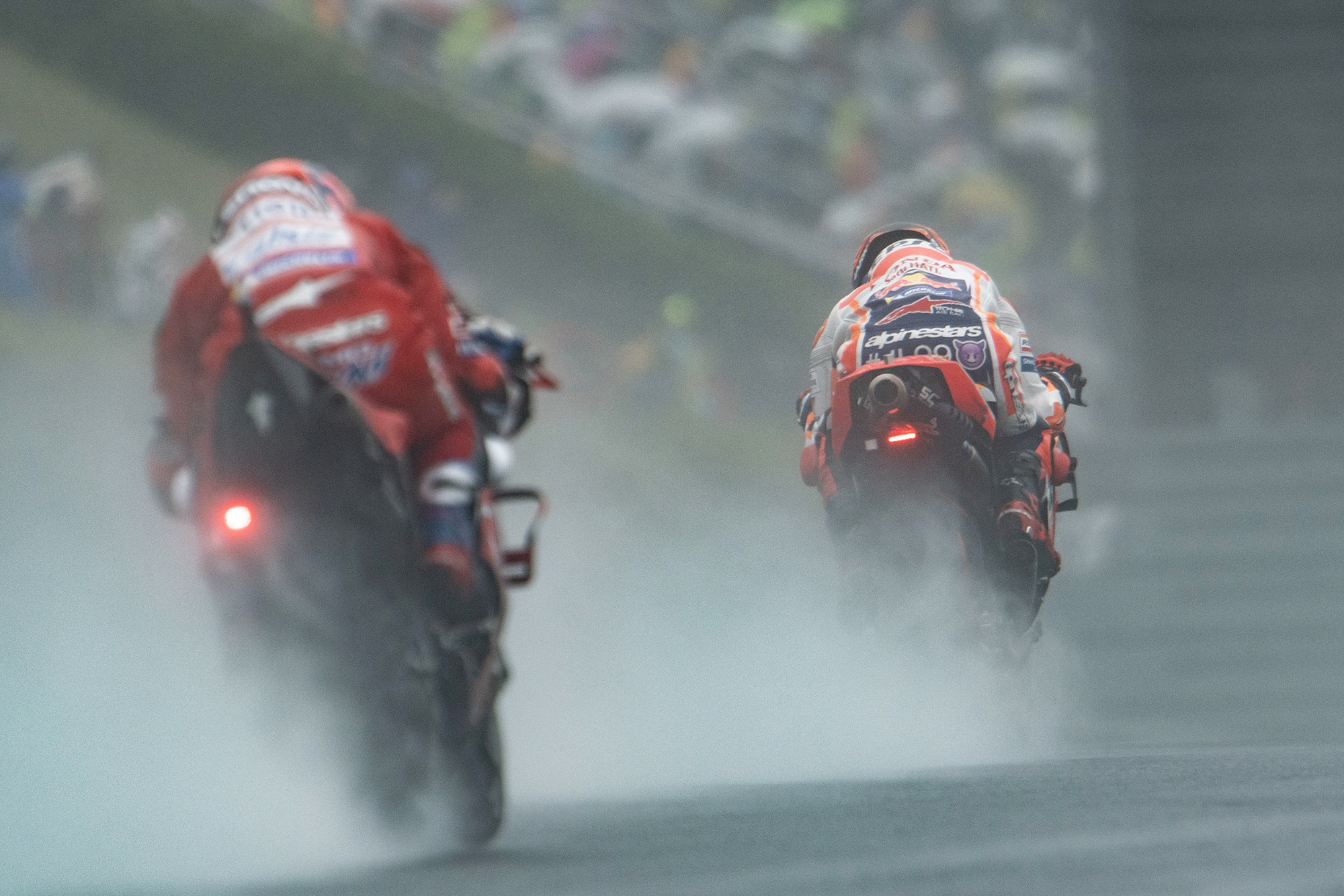 Spray during wet practice at the 2019 MotoGP Grand Prix of Japan