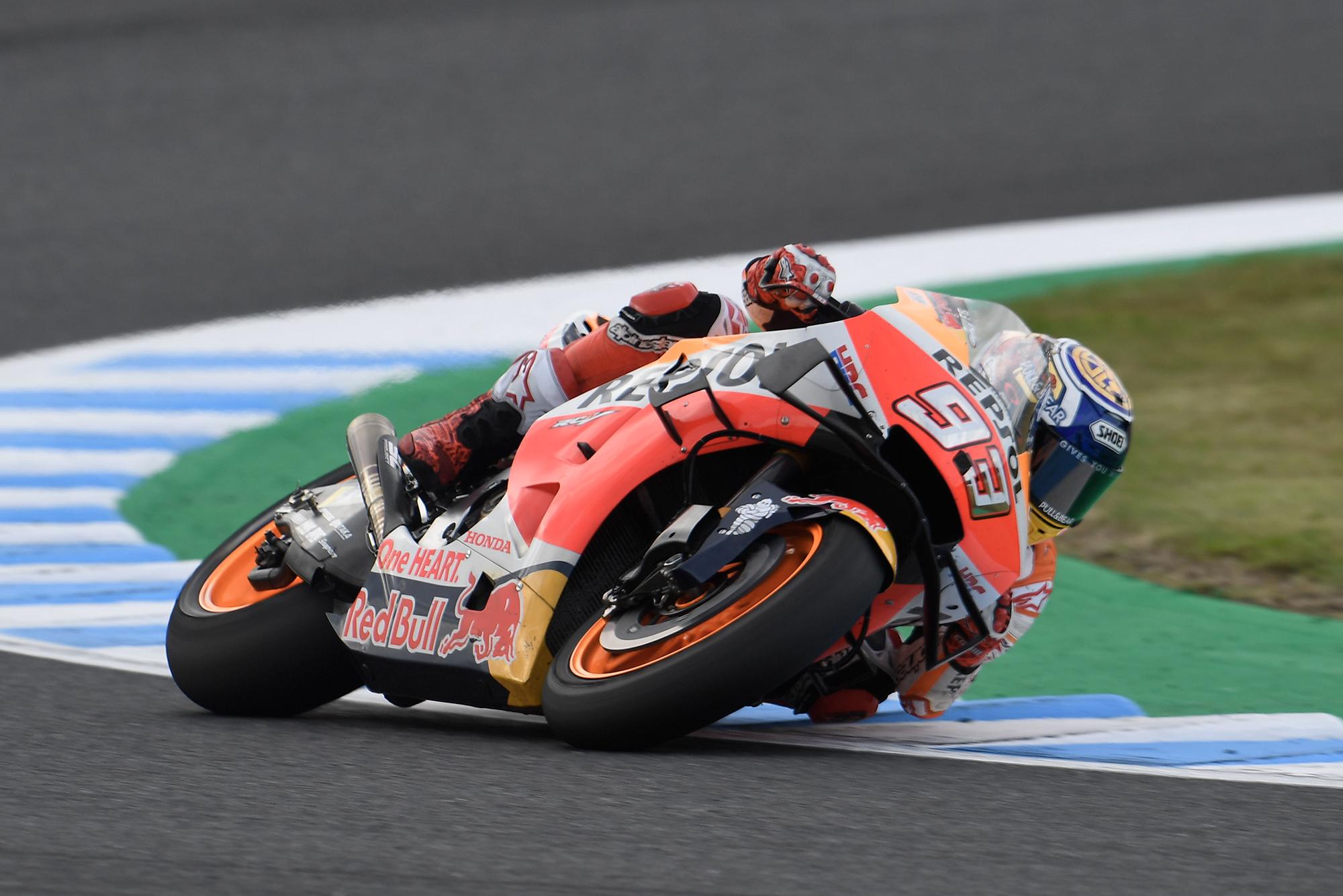 Marc Marquez cornering during the 2019 MotoGP Grand Prix of Japan