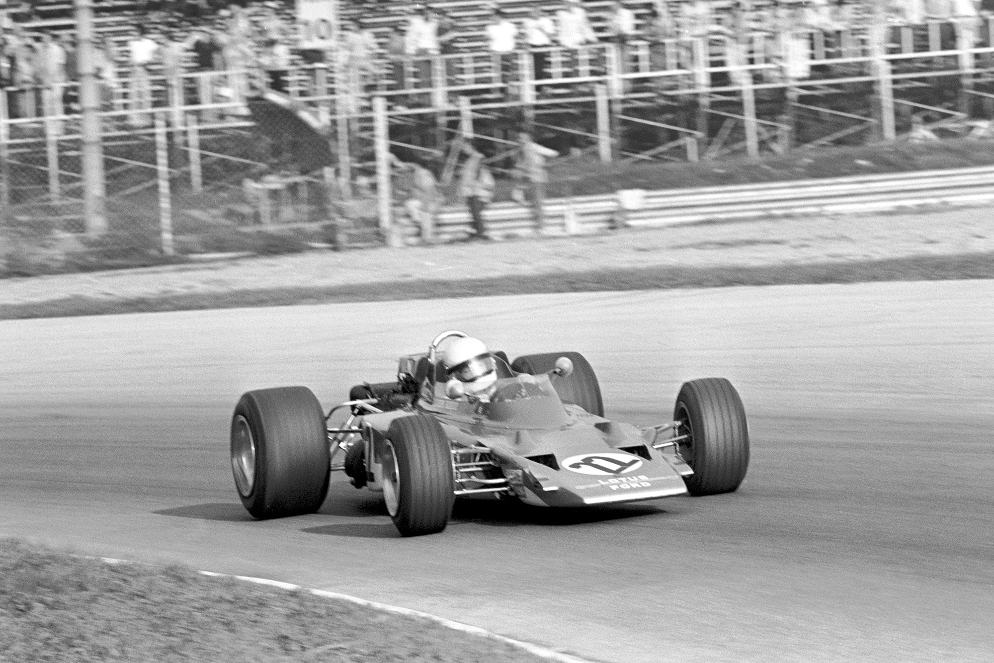 Jochen Rindt in his Lotus with no wings before his fatal crash during the 1970 Italian Grand Prix