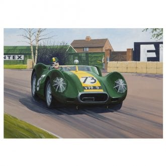 Product image for Lister Jaguar - Archie Scott-Brown - 1958   signed by artist   Limited Edition print