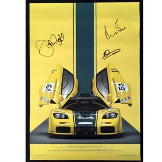 Product image for Harrods McLaren F1GTR - 1995 - Le Mans | signed Derek Bell & Andy Wallace | poster