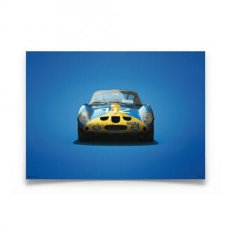 Product image for Colours of Speed | Ferrari 250 GTO – Blue & Yellow – 1964 Targa Florio | Automobilist | Limited Edition poster
