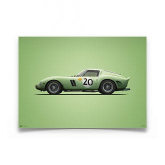 Product image for Colours of Speed | Ferrari 250 GTO – Green – 1962 Le Mans | Automobilist | Limited Edition poster