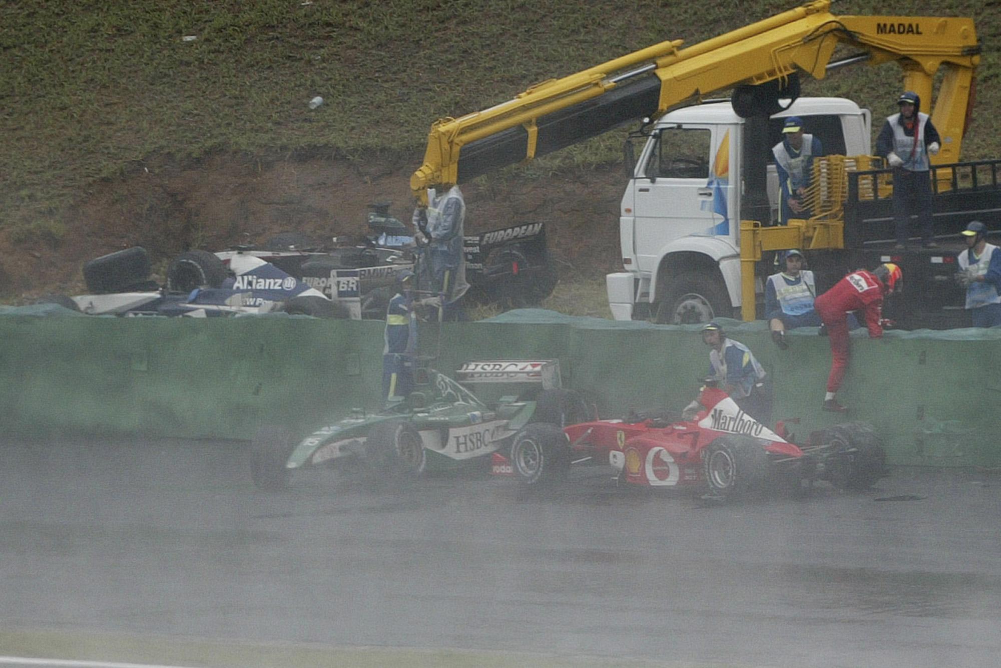Michael Schumacher crashes out of the 2003 Brazilian Grand Prix