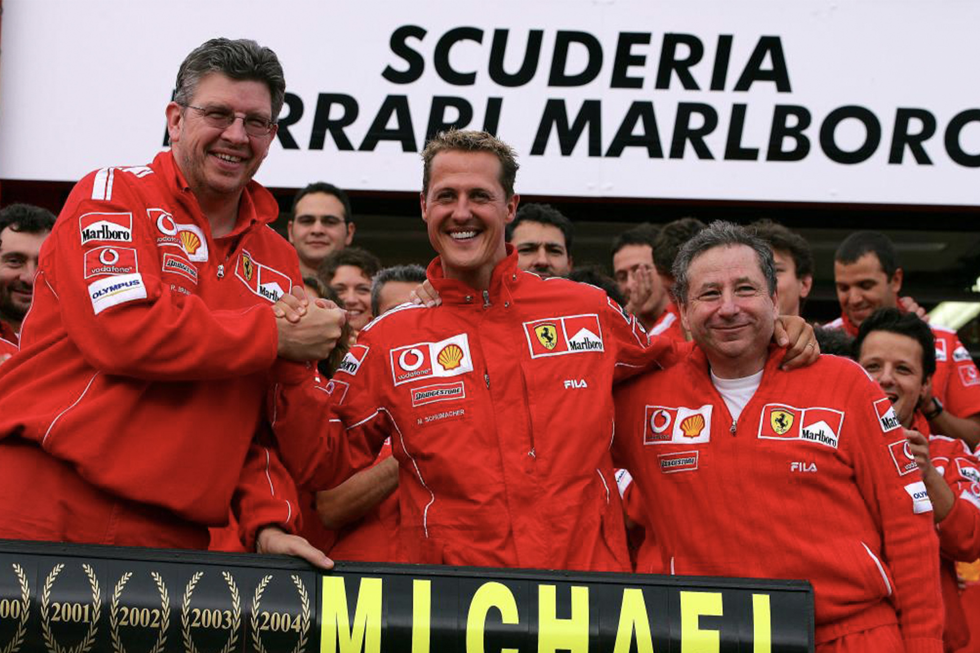 Ross Brawn, Michael Schumacher and Jean Todt at the 2004 Belgian Grand Prix