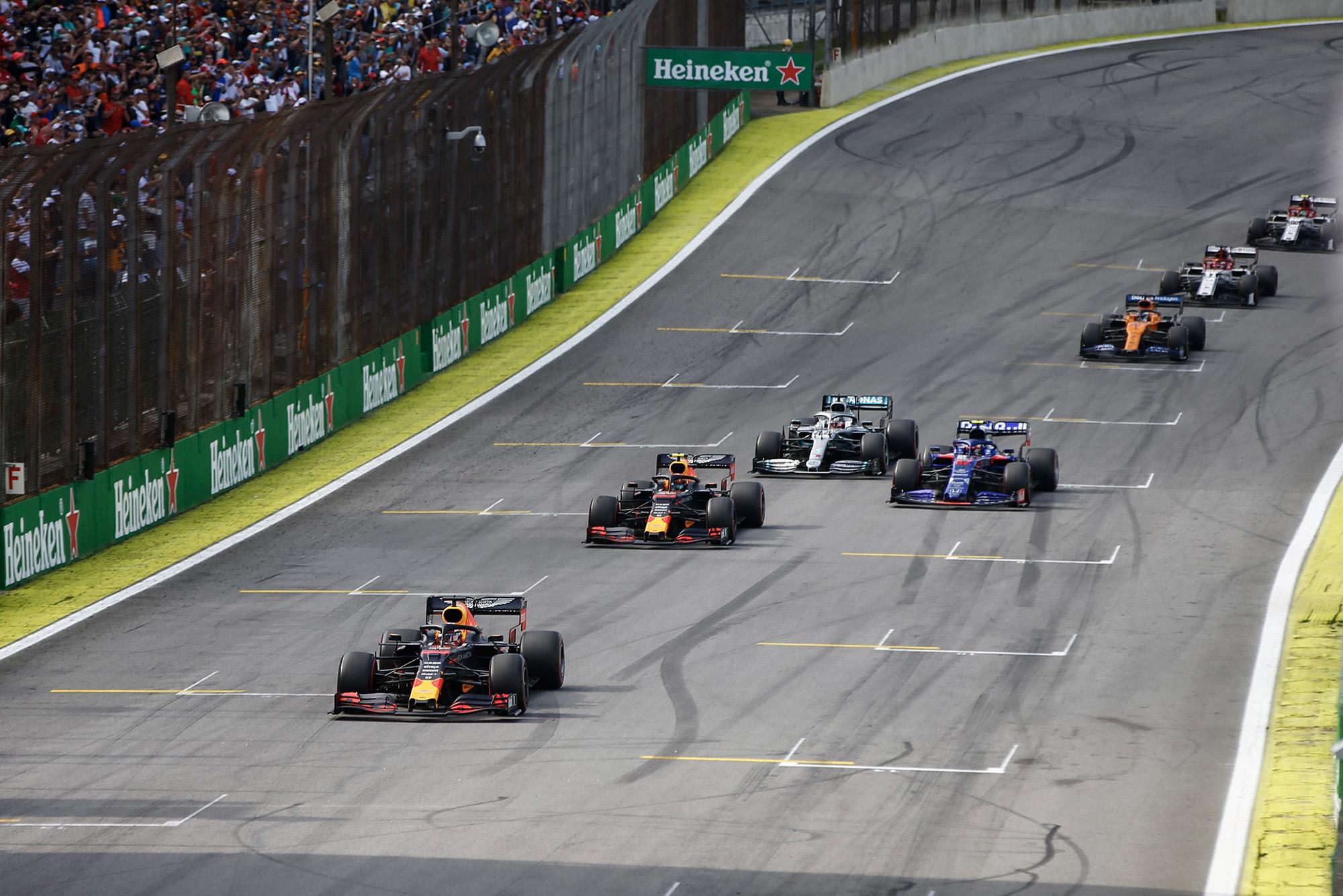 Max Verstappen leads at the final restart during the 2019 Brazilian Grand Prix