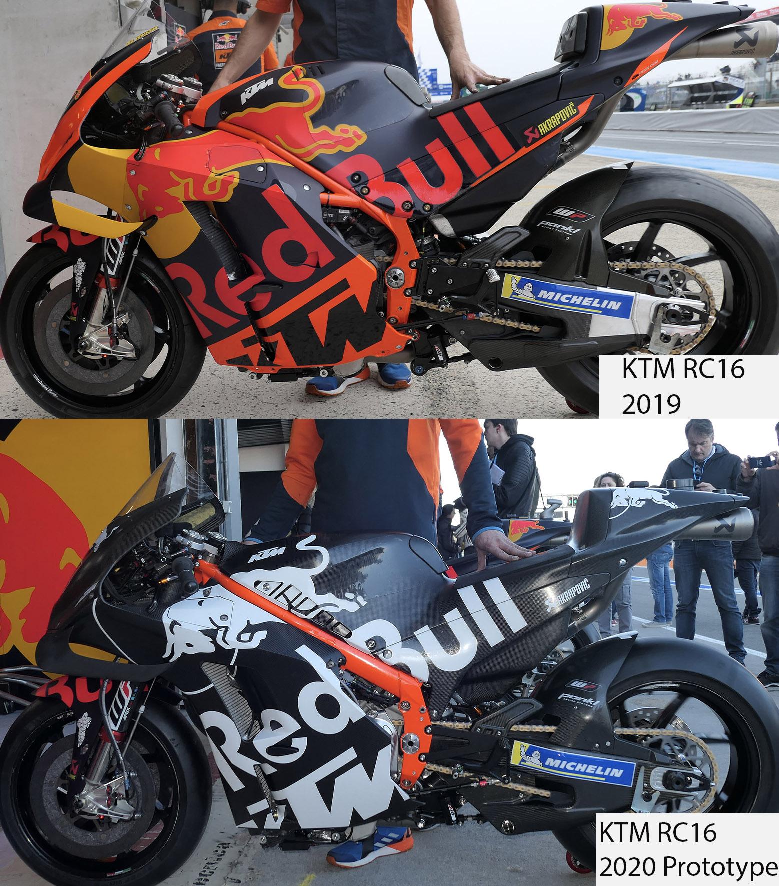 KTM's RC16 2019 and 2020 prototype bikes