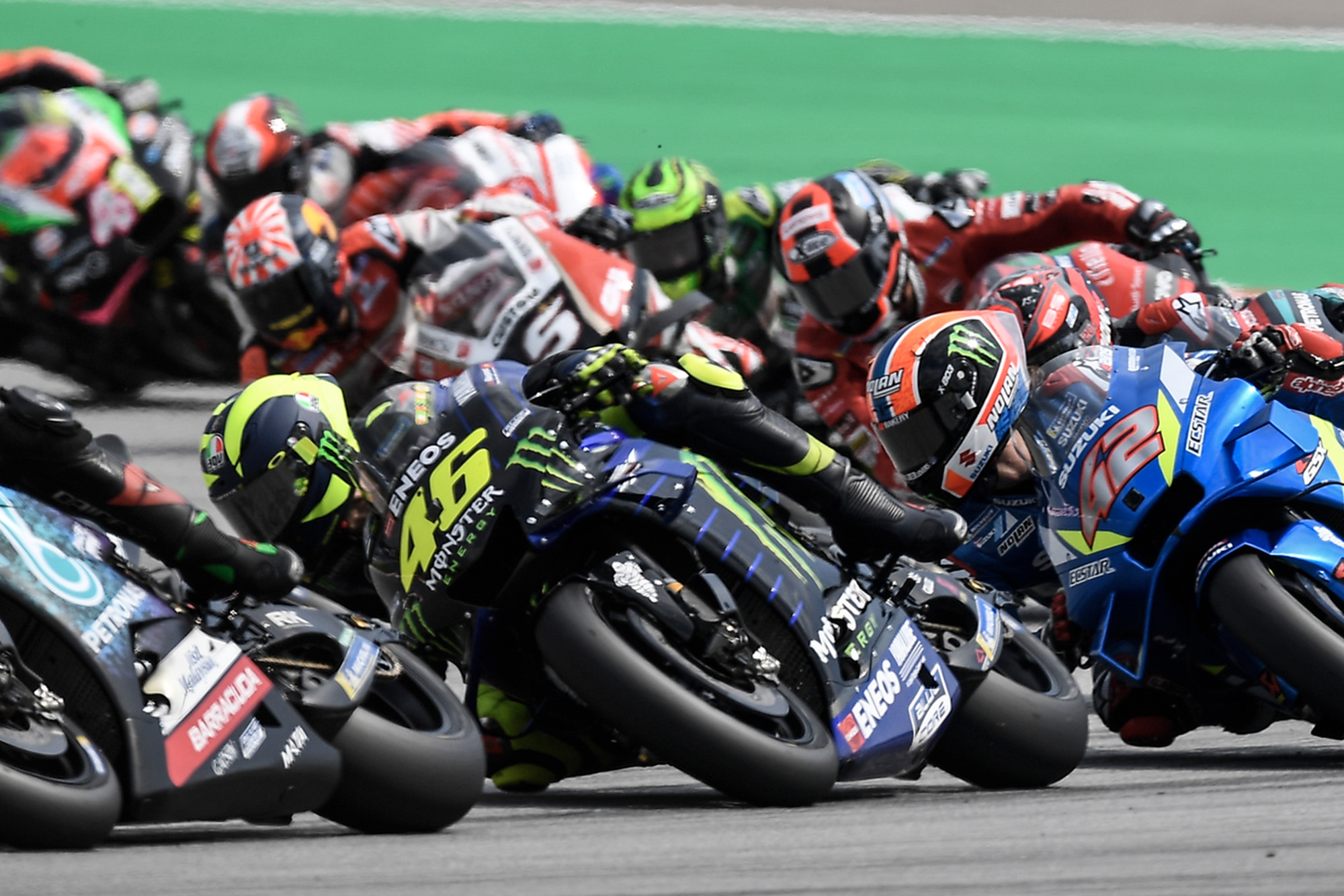Rossi fighting in the pack in 2019