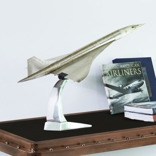 Large Scale Silver Concorde plane model on desk