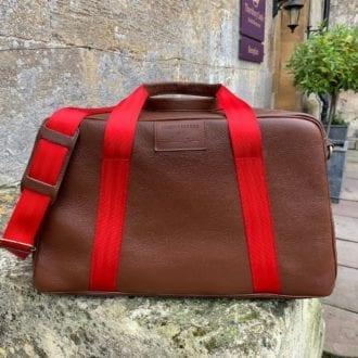 Product image for 'Leather Art' Duffle Bag   Brown   Fangio vs Collins - 1950   Jordan Bespoke