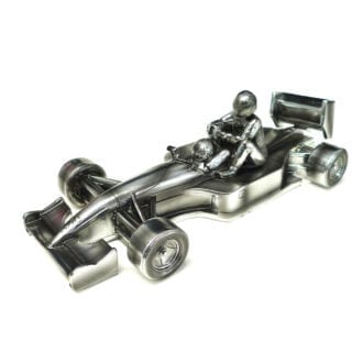Product image for 'Taxi for Senna' | Nigel Mansell - Williams FW14  - 1991 | Chrome Sculpture | signed Nigel Mansell