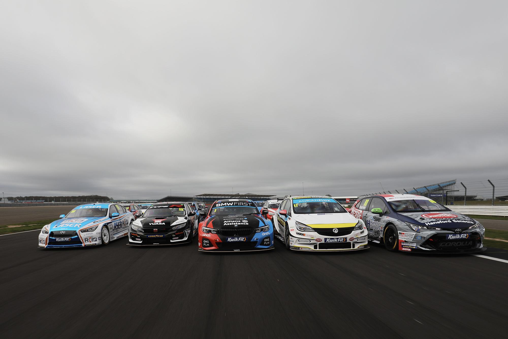BTCC 2020 media day cars in a pack
