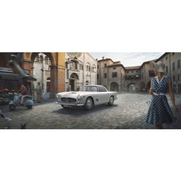 An Automobilist fine art print titled The White Dame - Artwork Modena, Italy / March 1957