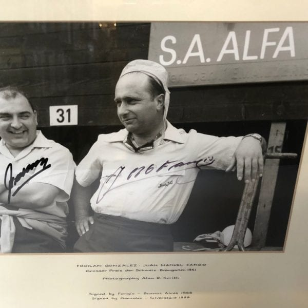1951 Swiss Grand Prix photograph by Alan Smith signed by Froilan Gonzalez & Juan Manuel Fangio