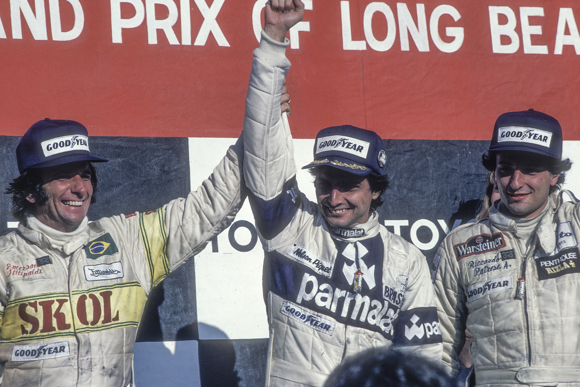 Nelson Piquet on the podium at Long Beach after winning his first F1 Grand Prix