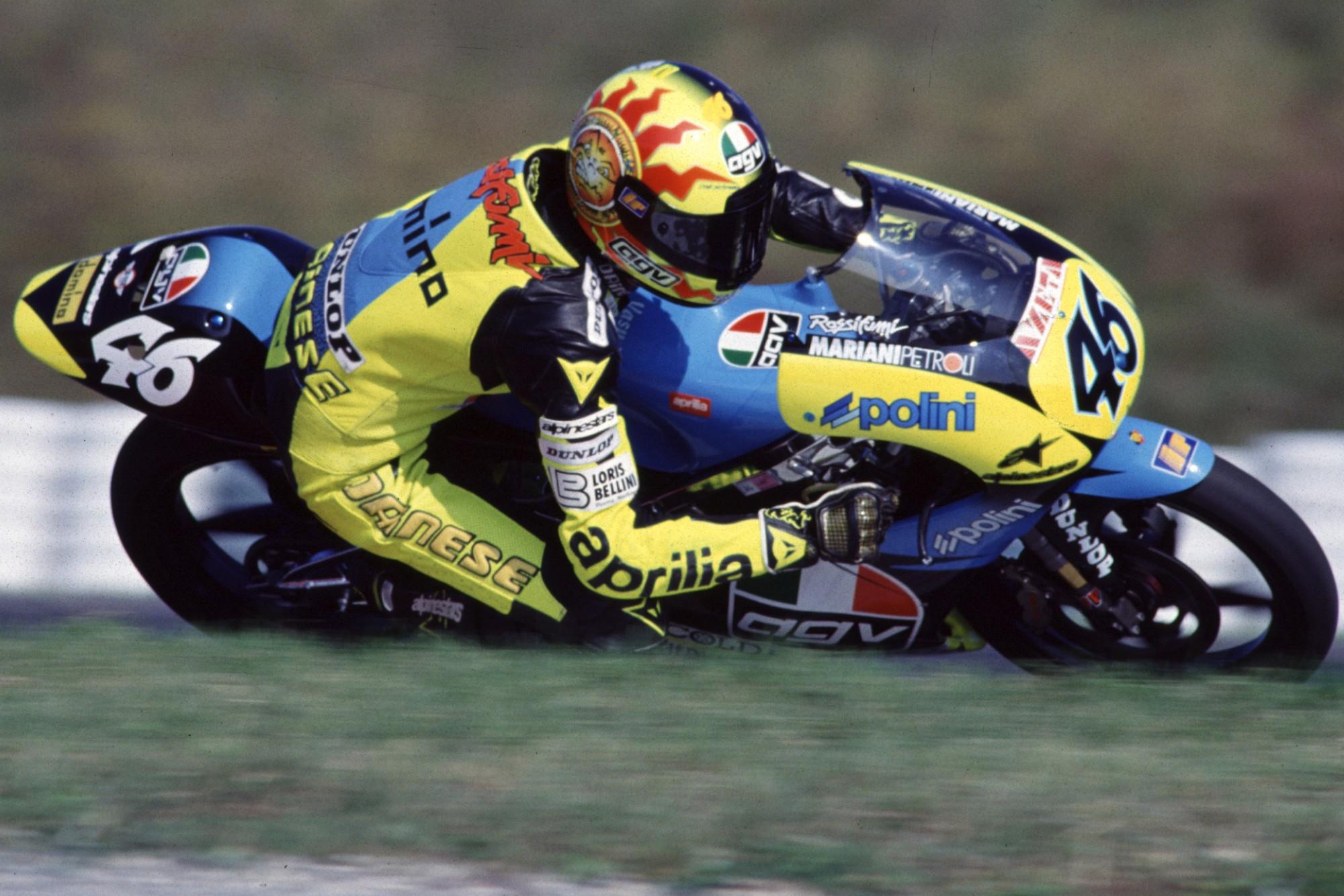 Valentino Rossi on his Aprillia MotoGP bike in 1996