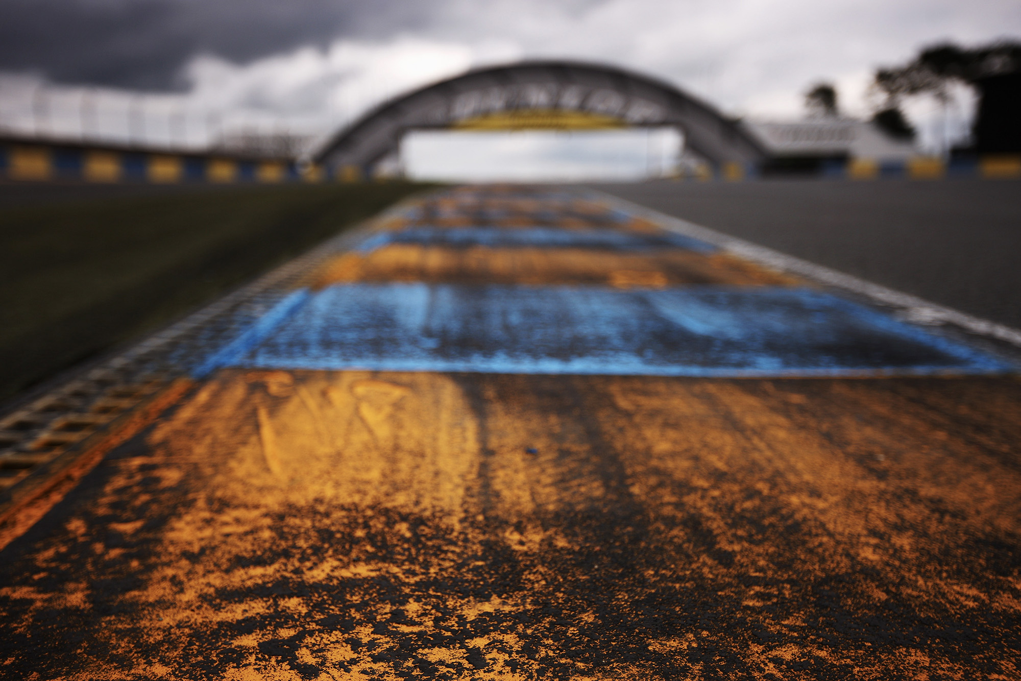 Empty Le Mans track with Dunlop Bridge in the background