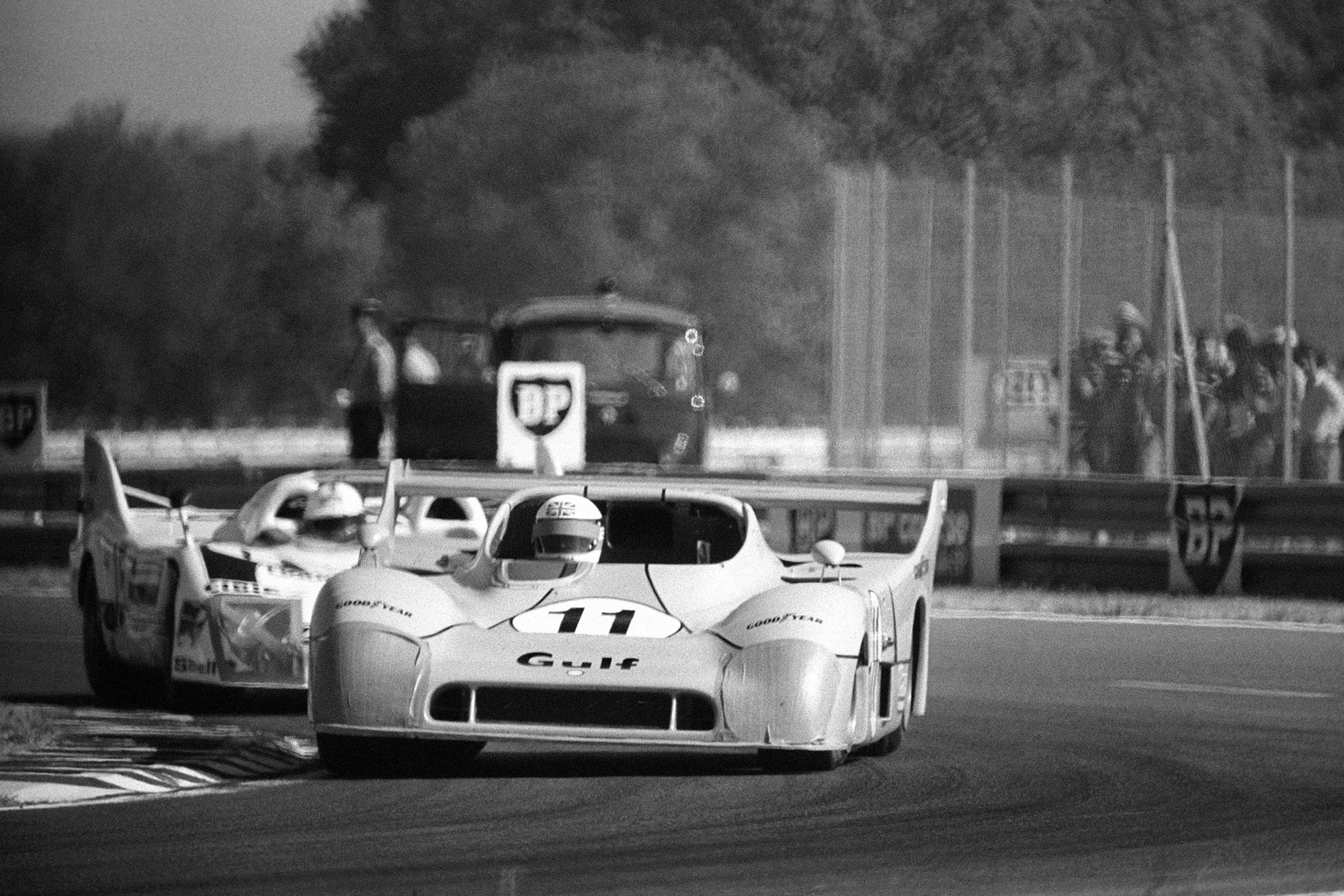 Derek Bell in a Mirage GR8 on his way to winnng the 1975 Le Mans 24 Hours