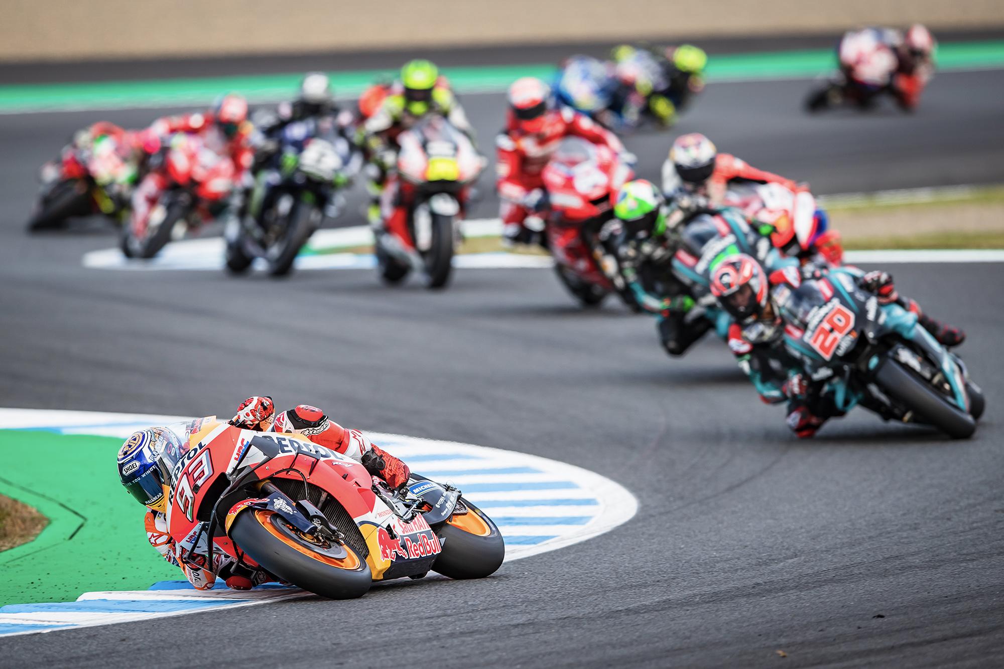 Marc Marquez leads the MotoGP grid