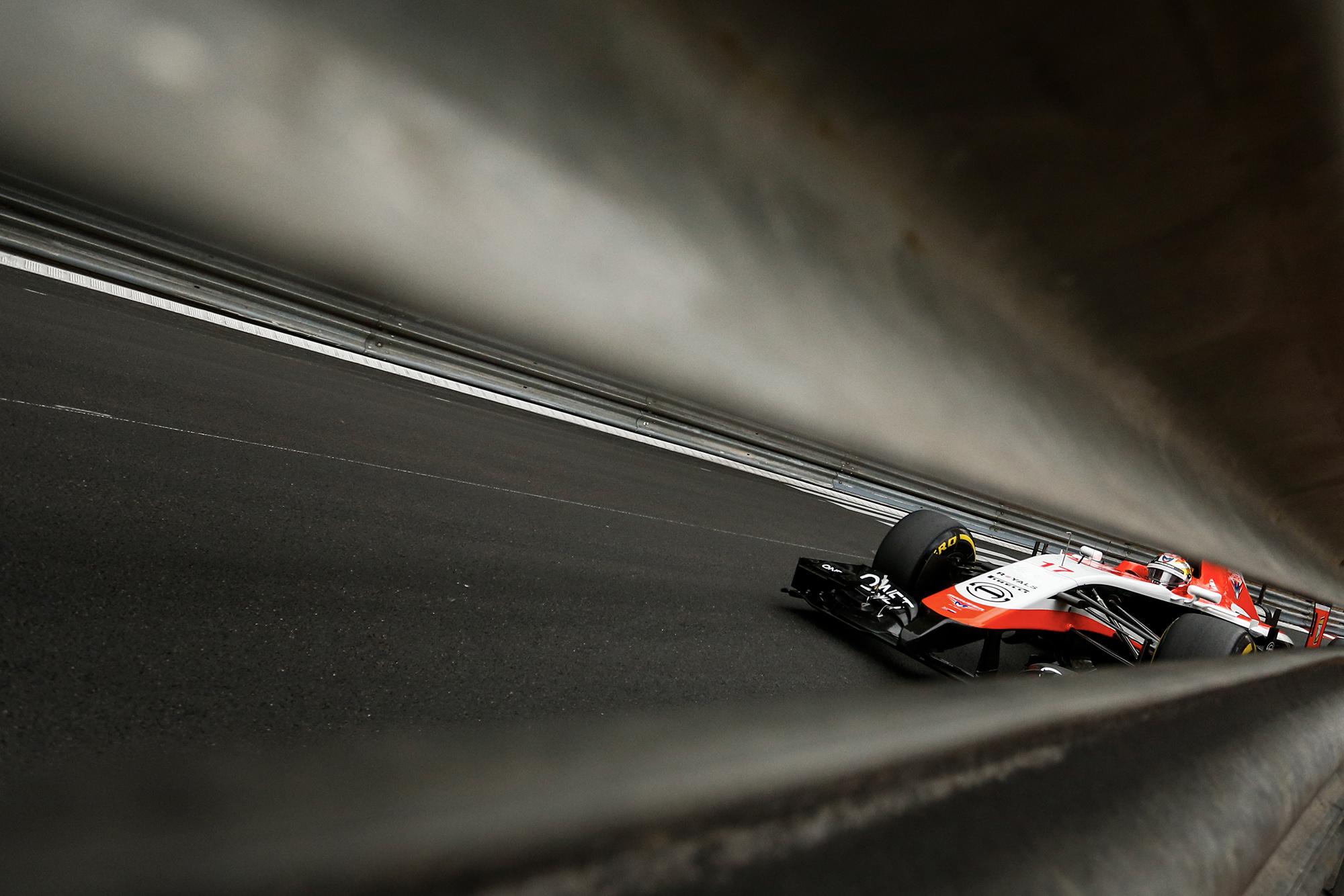 Jules Bianchi in a Marussia during the 2014 Monaco Grand Prix