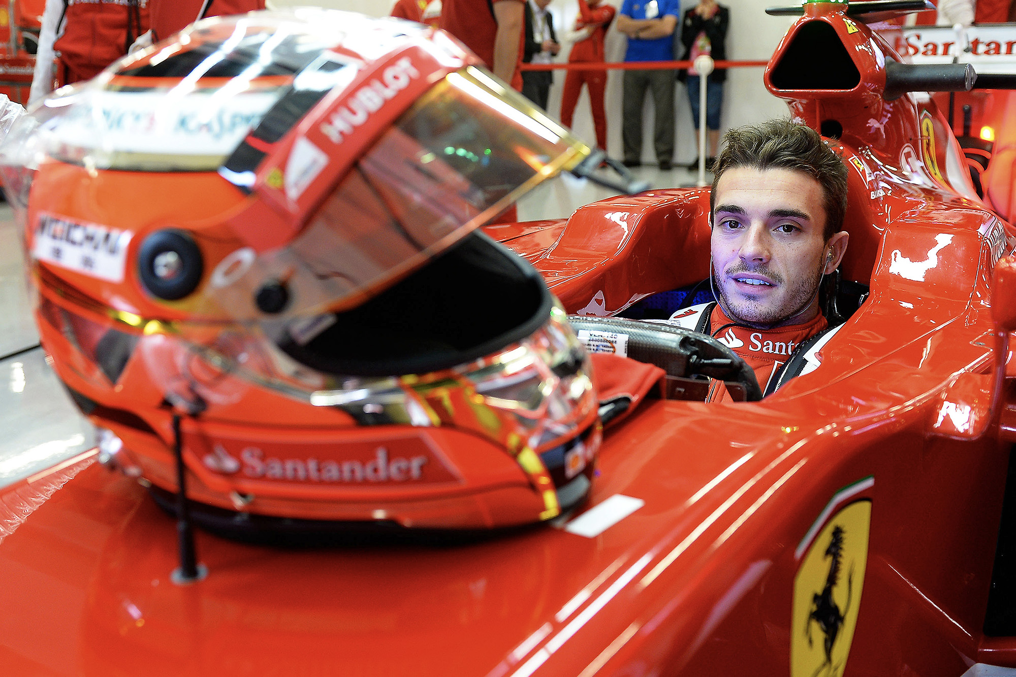 Jules Bianchi in a Ferrari during 2014 F1 testing at Silverstone