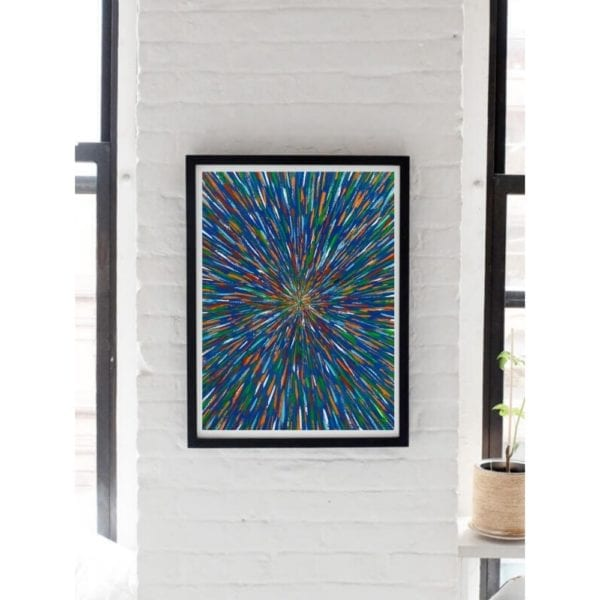 blue abstract painting lifestyle white wall