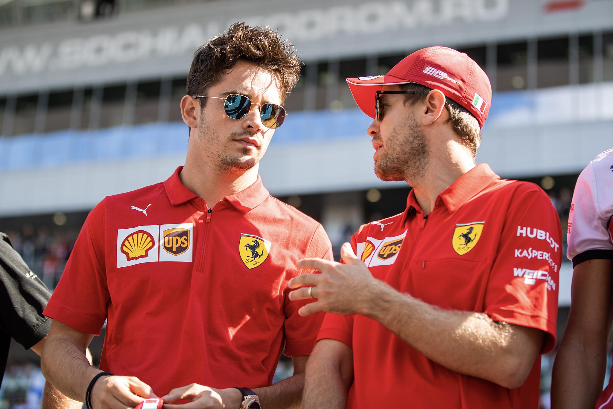 Charles Leclerc talks to Sebastian Vettel at the 2019 Russian Grand Prix