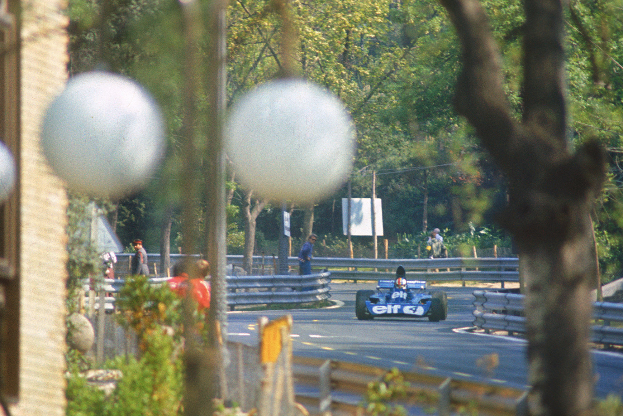 Francois Cevert racing in Montjuich Park during the 1973 Spanish Grand Prix