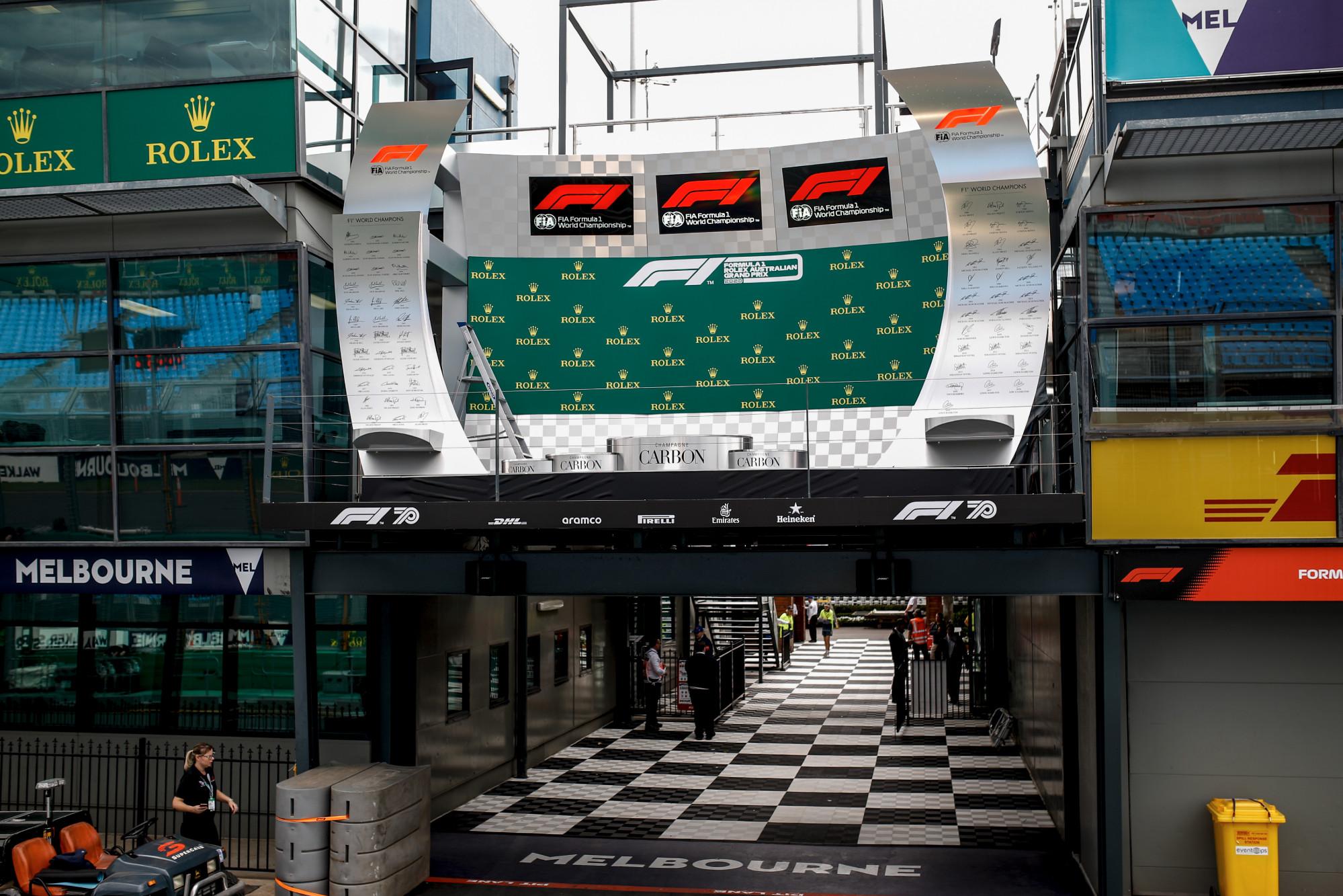 An empty podium at the 2020 Australian Grand Prix
