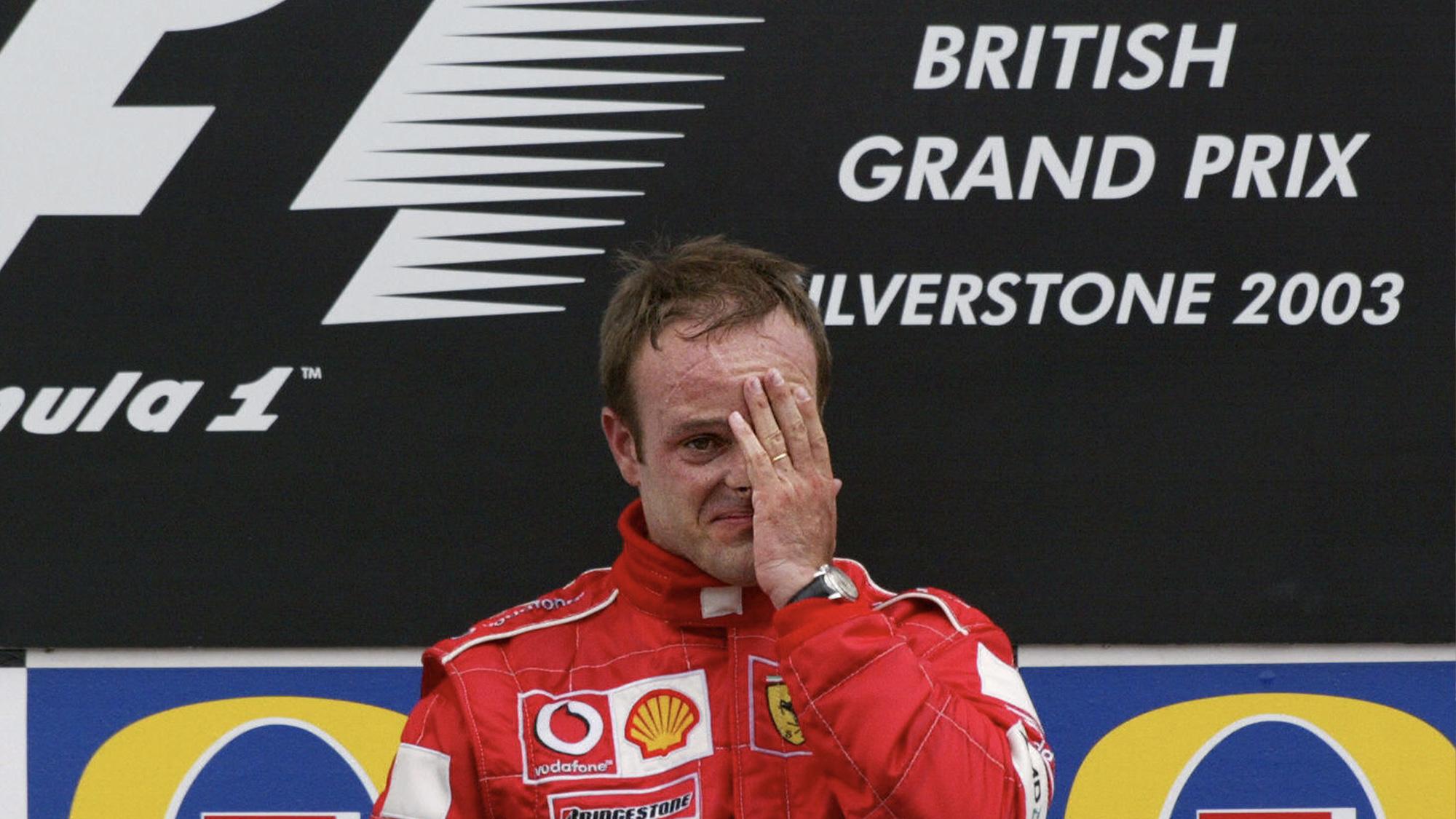 A tearful Rubens Barrichello celebrates victory in the 2003 British Grand Prix at Silverstone