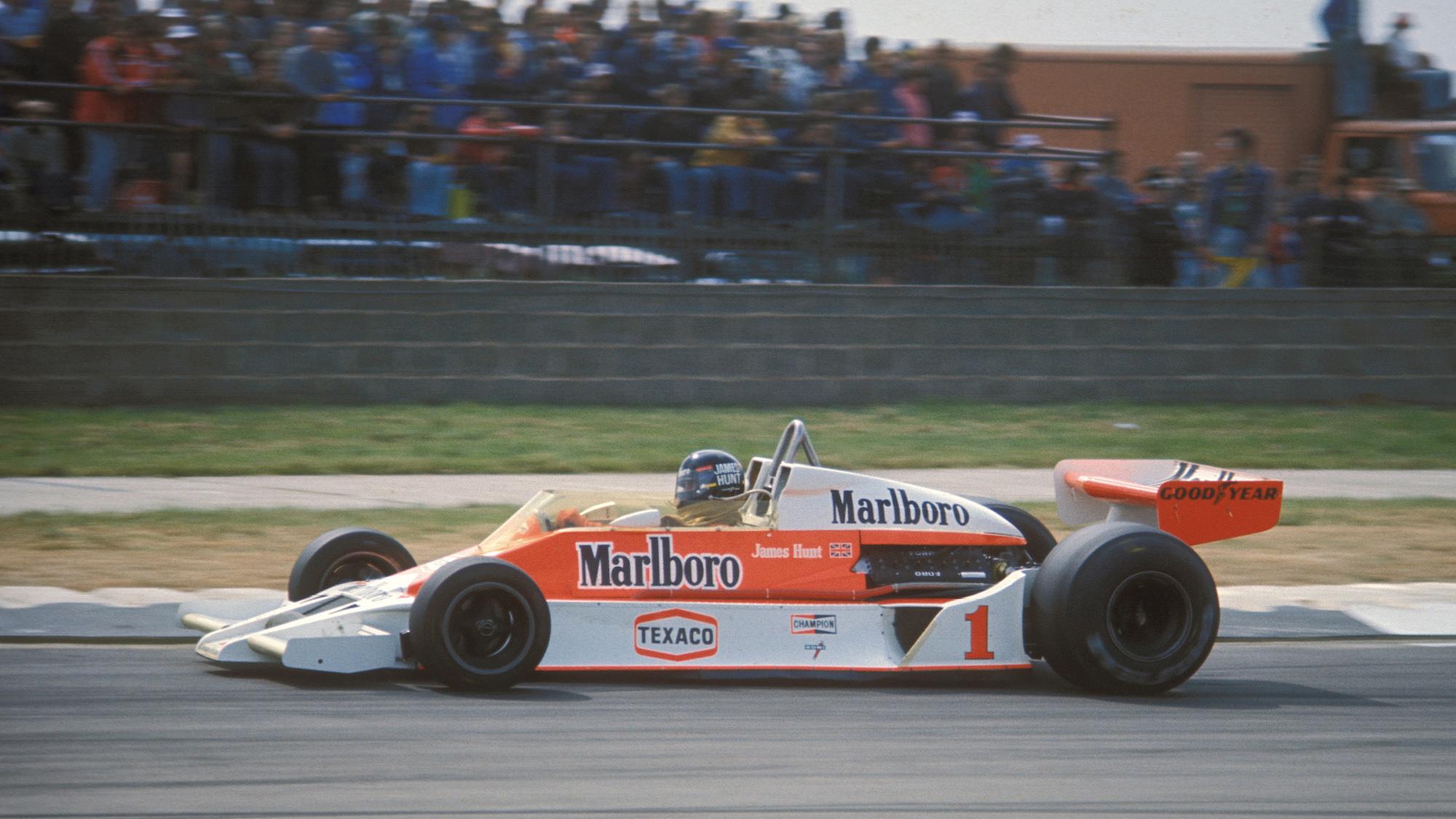 James Hunt's McLaren during the 1977 British Grand Prix at Silverstone