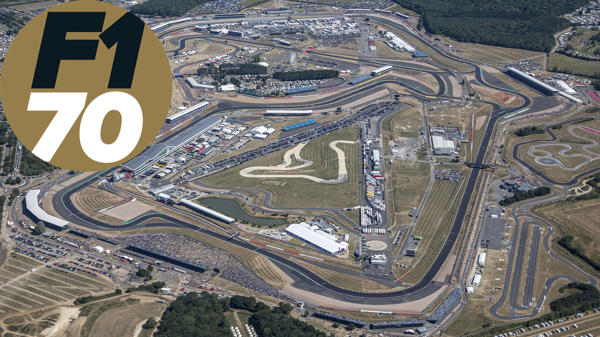 Overhead view of Silverstone during the 2018 British Grand Prix