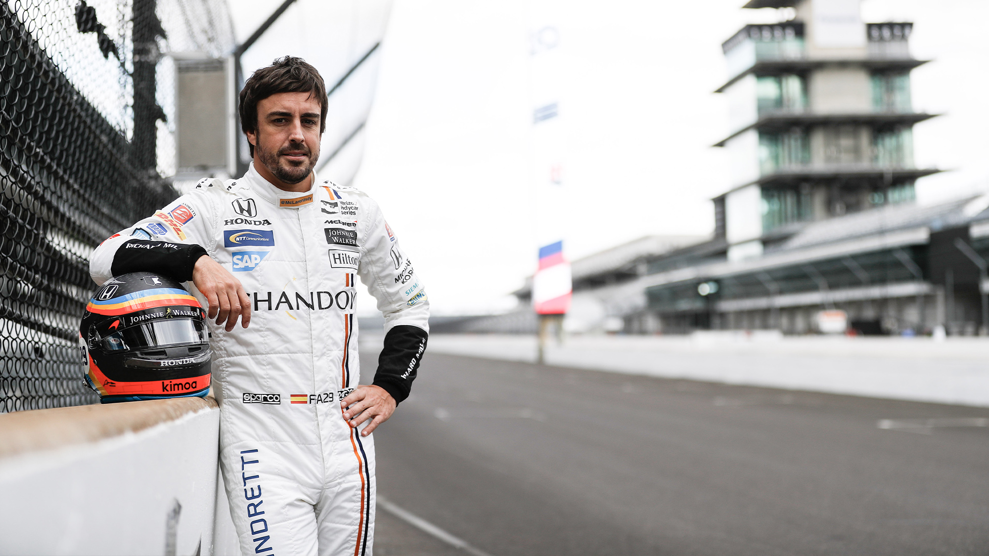 Fernando Alonso at the Indianapolis Motor Speedway ahead of the 2017 Indy 500 with Andretti Autosport