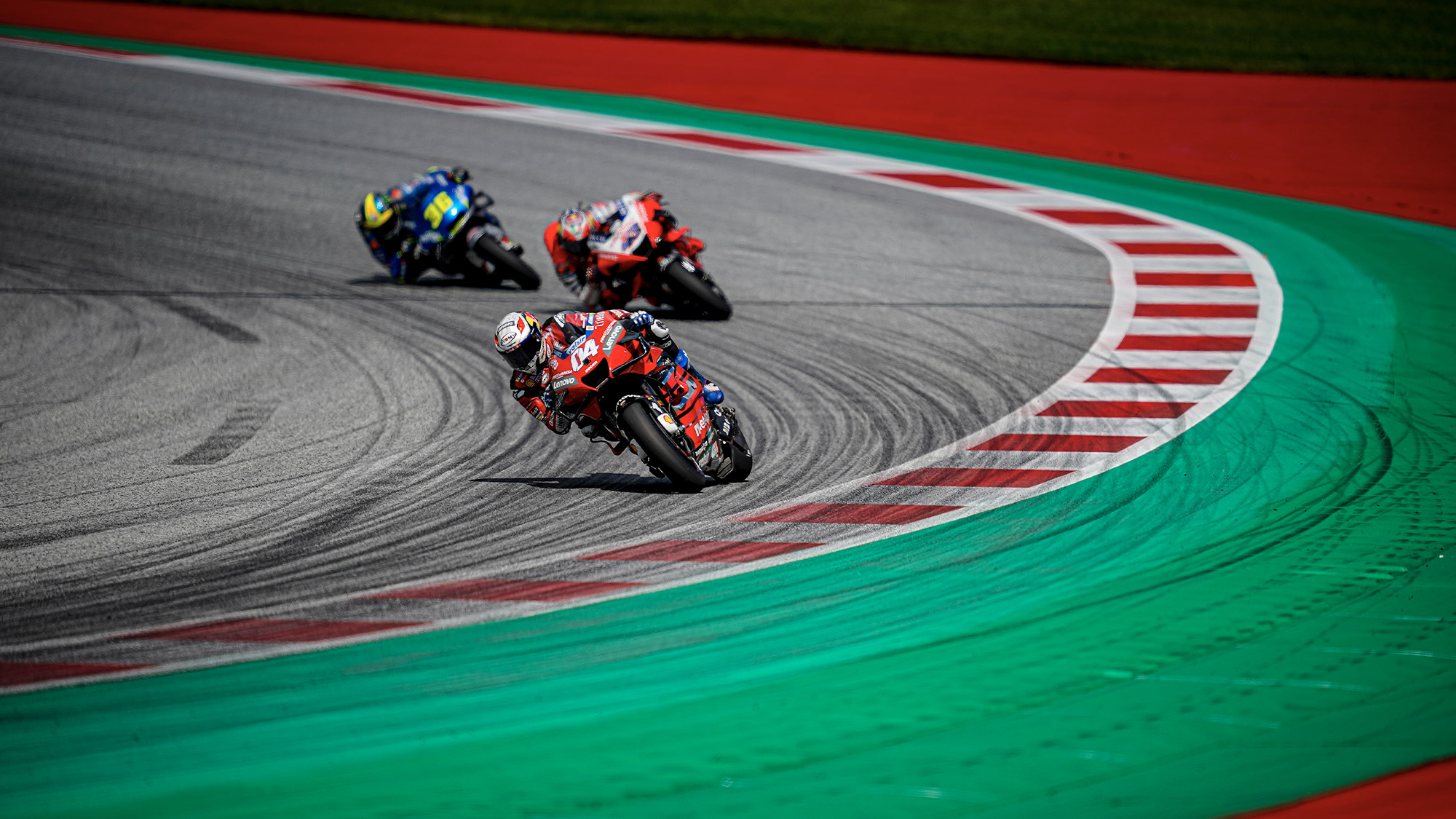 Andrea Dovizioso Jack Miller and Joan Mir during the 2020 MotoGP Austrian Grand Prix at the Red Bull Ring